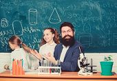 How To Interest Children Study. Fascinating Biology Lesson. School Teacher Of Biology. Man Bearded T poster