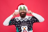 Fashion Design For Keeping Festive. Fashion Santa Red Background. Happy Man Twirl Fashion Mustache.  poster