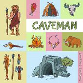 Ancient Caveman, His Cave And Tools For Hunting. Anciently Human Of Stoneage, Historic Primitive Dwe poster