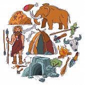 Ancient Man Stone Age Cartoon Caveman Set Isolated Vector Illustration. Historic Primitive Cave, Anc poster