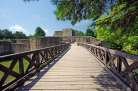 stock photo of suceava  - Medieval ruins of Suceava fortress in Moldavia - JPG
