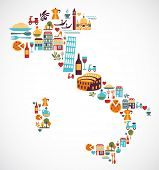 foto of gondola  - Italy map with vector icons - JPG