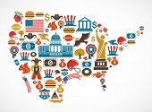 stock photo of broadway  - America map with many vector icons - JPG