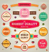 stock photo of cherries  - Set of retro bakery labels - JPG