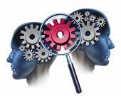 stock photo of gear  - Team Solution and business partners success by cooperating as a financial unit coming together to create industry innovation with two people and a group of gears and cogs and a magnifying glass focused on a red one - JPG