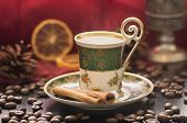 stock photo of steamy  - Steamy Mocha in old oriental Cup - JPG