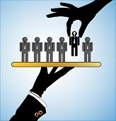 Concept Illustration Of Best Choice: Row Of Candidates Or Employees Or People With Question Marks In