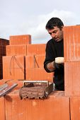 A bricklayer busy at work