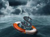 stock photo of water-saving  - Illustration of a dollar symbol being saved from stormy weather - JPG