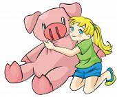 picture of gentle giant  - Young Girl is hugging a giant piggy doll - JPG