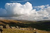 pic of errat  - View from Norber Erratics in Yorkshire Dales National Park down past Moughton Scar to Wharfe Dale - JPG