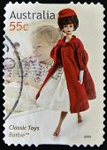 AUSTRALIA - CIRCA 2009: A stamp printed in australia dedicated to classic toys shows Barbie