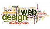 image of descriptive  - Web design concept in word tag cloud on white background - JPG