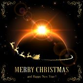 pic of santa sleigh  - Space background with planet and Santa - JPG