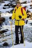 Hiking, snowshoeing - woman on hike
