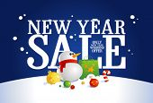New year sale design with Christmas eve symbols.