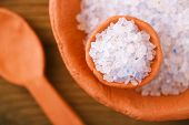 stock photo of iranian  - Persian Blue Iranian Crystal Rock salt in rustic clay bowls - JPG