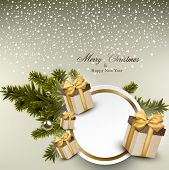 Christmas round white paper card with gift boxes. Vector illustration.