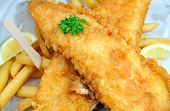 image of hake  - Traditional english fish and chips takeaway meal - JPG