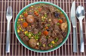 picture of stew  - Hearty and traditional Irish stew in a bowl ready to eat - JPG