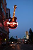 NIAGARA FALLS, CANADA- AUGUST 19, 2013:  Neon sign of Hard Rock cafe, one of the restaurant and stor