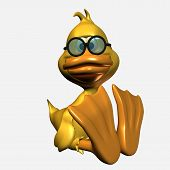 stock photo of feeling stupid  - 3d duck - JPG