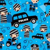 Seamless explosives thief and crook police car illustration background pattern for kids in vector