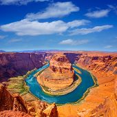 picture of ravines  - Arizona Horseshoe Bend meander of Colorado River in Glen Canyon - JPG