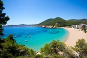 Ibiza caleta de Sant Vicent cala San vicente beach san Juan at Balearic Islands of spain