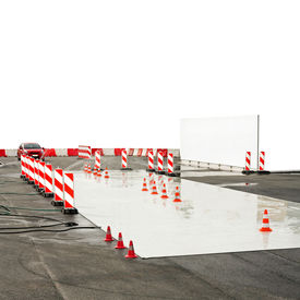 pic of driving school  - Test drive track for wet conditions education - JPG