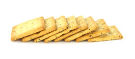 picture of whole-grain  - A group of healthy whole grain crackers against a white background - JPG