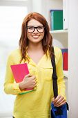 education concept - smiling redhead female student in eyeglasses with laptop bag and notebooks in li