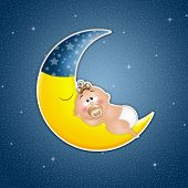 image of goodnight  - an illustration of Baby asleep on the moon in the night - JPG