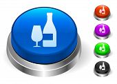 Wine and Glass Icons on Round Button Collection