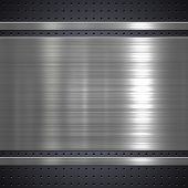 pic of titanium  - Metal plate on metal mesh background or texture - JPG