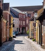Street With Old Houses From Ribe In Denmark