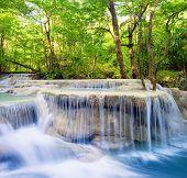 stock photo of jungle  - Waterfall landscape background - JPG