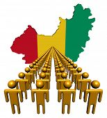 Lines of people with Guinea map flag illustration