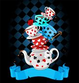 stock photo of mad hatter  - Wonderland Mad Tea Party Pyramid design - JPG