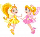 image of little angel  - Illustration of two cute fairies in fly - JPG