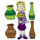 little girl, pots and flowers cartoon illustration