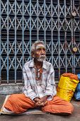 TIRUCHIRAPALLI, INDIA - FEBRUARY 14, 2013: Unidentified old Indian man in the street
