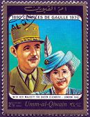 United Arab Emirates, circa 1963:  Queen Elizabeth II and Charles de Gaulle on vintage stamp, circa