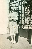 POLAND, CIRCA 1940's: Vintage photo of happy couple outdoor