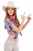 Aiming redhead cowgirl isolated on white