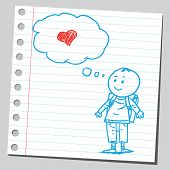 Schoolkid think about love