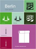 Landmarks of Berlin. Set of flat color icons in Metro style. Editable vector illustration.