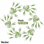 Vector concept or conceptual human child abstract green ecology hand print symbol of leafs,isolated