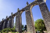 stock photo of aqueduct  - Aqueduct in the Templar Convent of Christ in Tomar - JPG