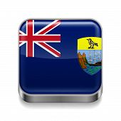 foto of ascension  - Metal square icon with flag colors of Saint Helena - JPG